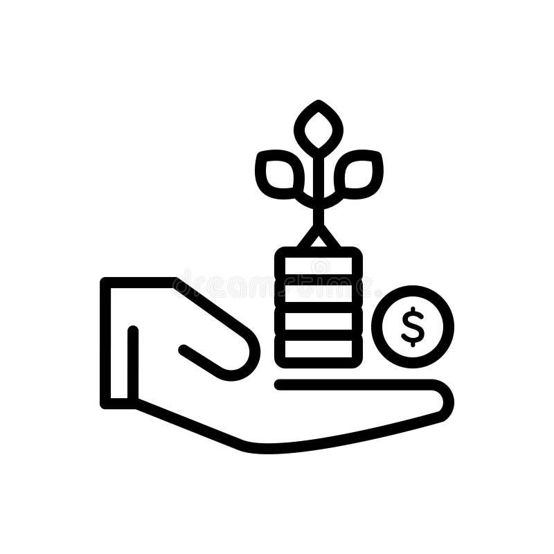 Linha preta ícone para o benefício, a vantagem e o lucro ilustração stock
