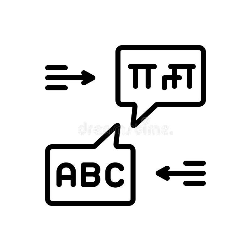 Linha preta ícone para o bilíngue, a língua e a bolha ilustração stock