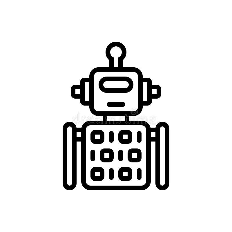 Linha preta ícone para o código, o algoritmo e a aplicação do robô ilustração royalty free