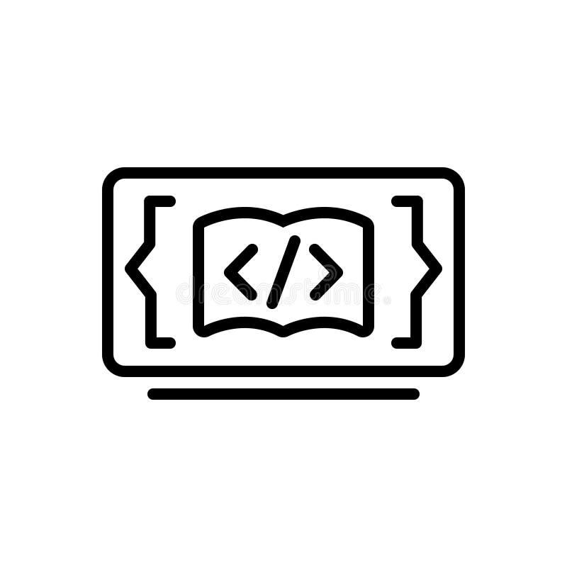 Linha preta ícone para o código que aprende, programando e aplicação ilustração stock