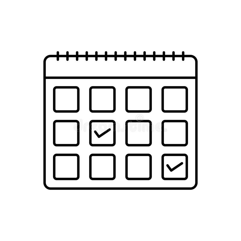 Linha preta ícone para o calendário, a nomeação e o pedido ilustração stock