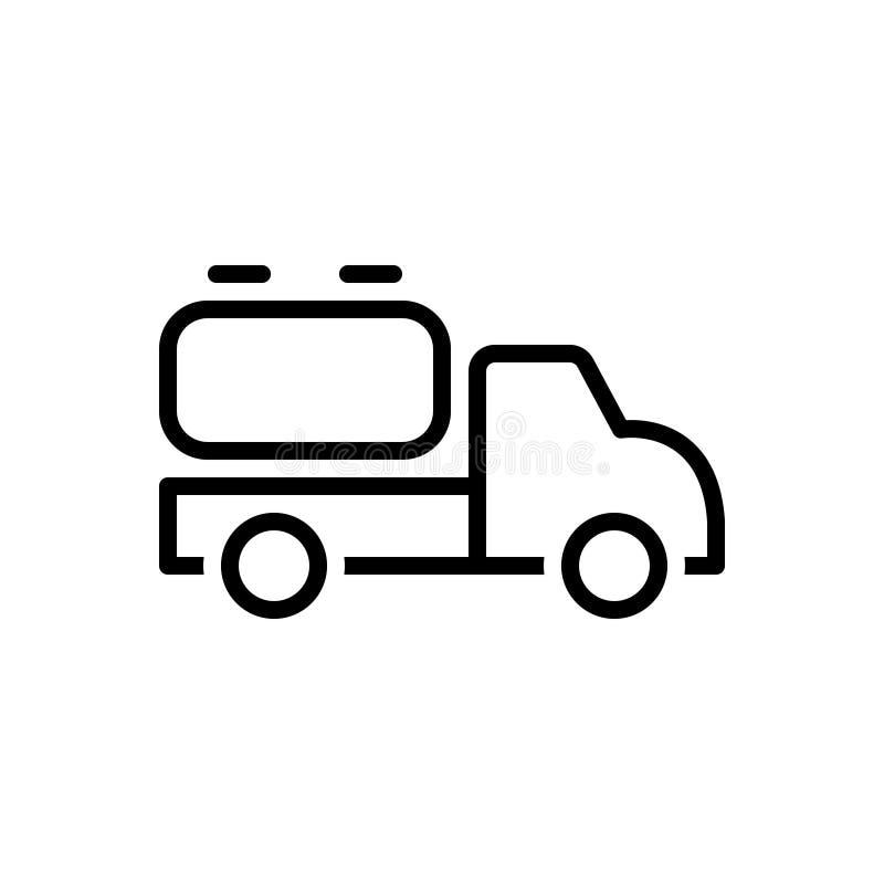 Linha preta ícone para o caminhão, o combustível e o líquido de tanque ilustração stock