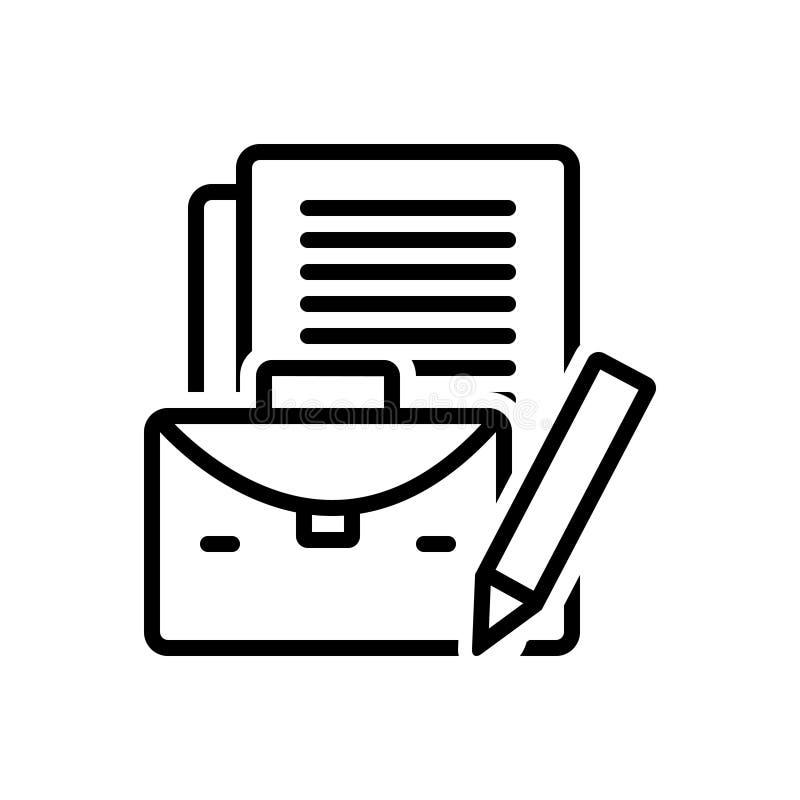 Linha preta ícone para o caso, o acessório e o comércio do negócio ilustração stock