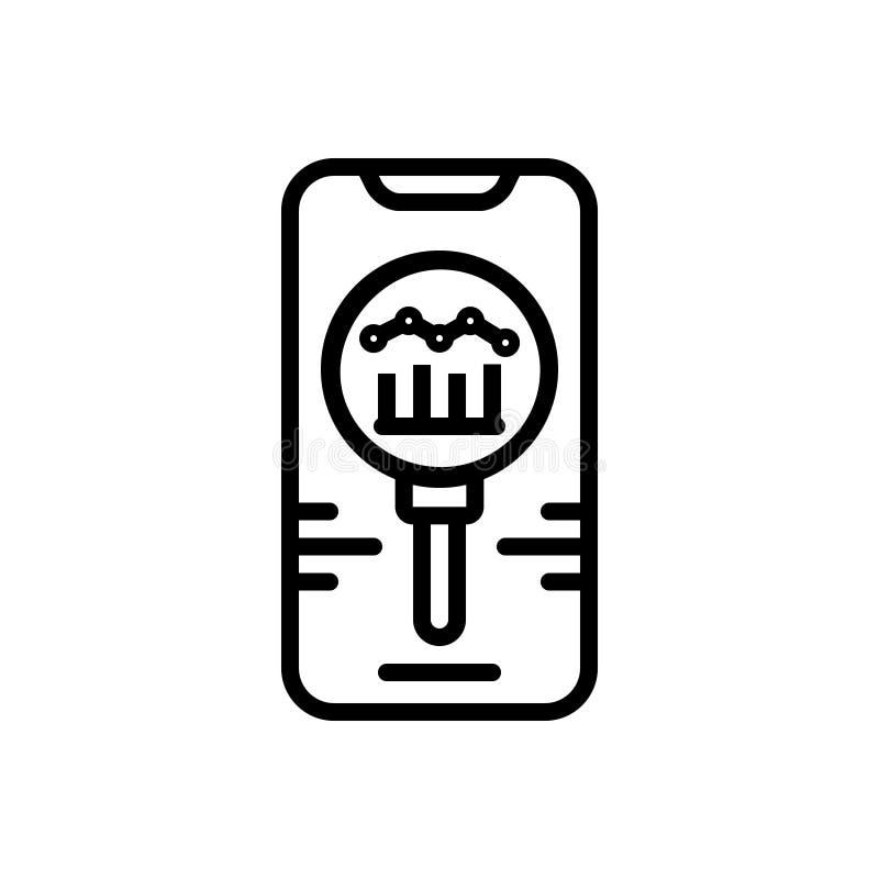 Linha preta ícone para o concorrente, a análise e o oponente ilustração stock
