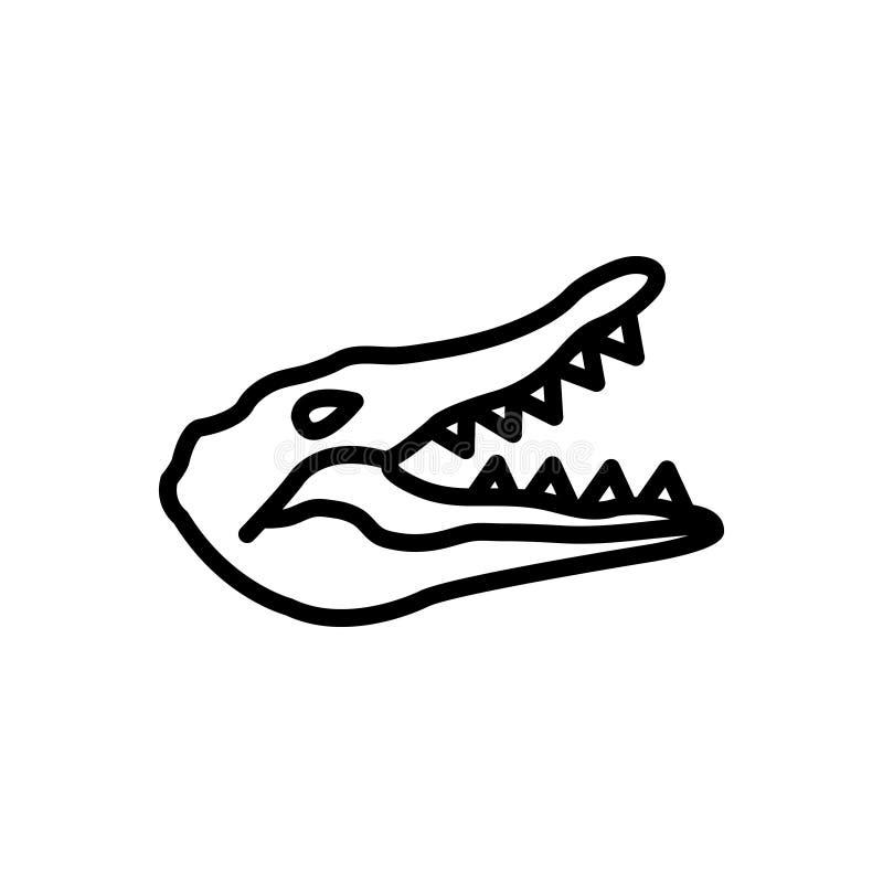 Linha preta ícone para o crocodilo, o jacaré e o réptil ilustração royalty free