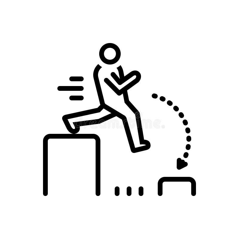 Linha preta ícone para o desafio, o outdare e o salto ilustração stock