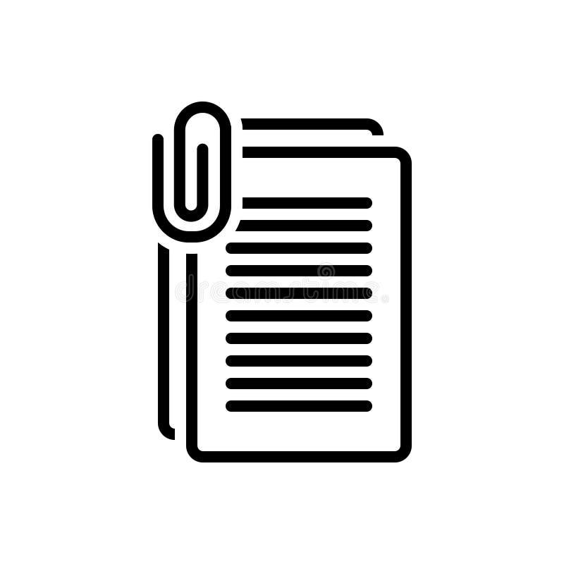 Linha preta ícone para o documento, a folha e a aplicação ilustração royalty free