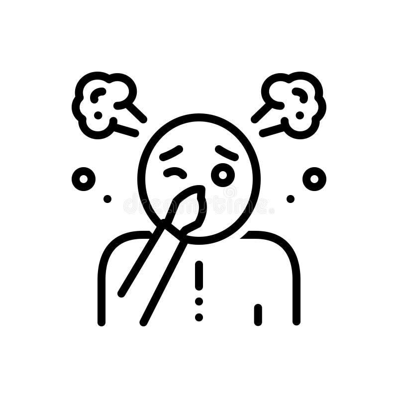 Linha preta ícone para o funk, o fedor e o malodor ilustração royalty free