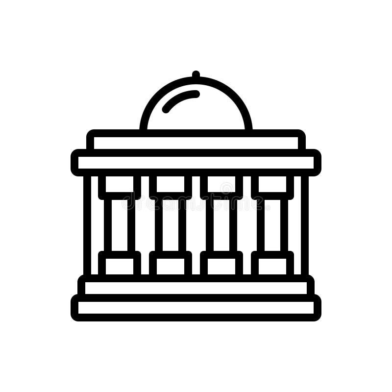 Linha preta ícone para o governo, federal e a construção ilustração stock