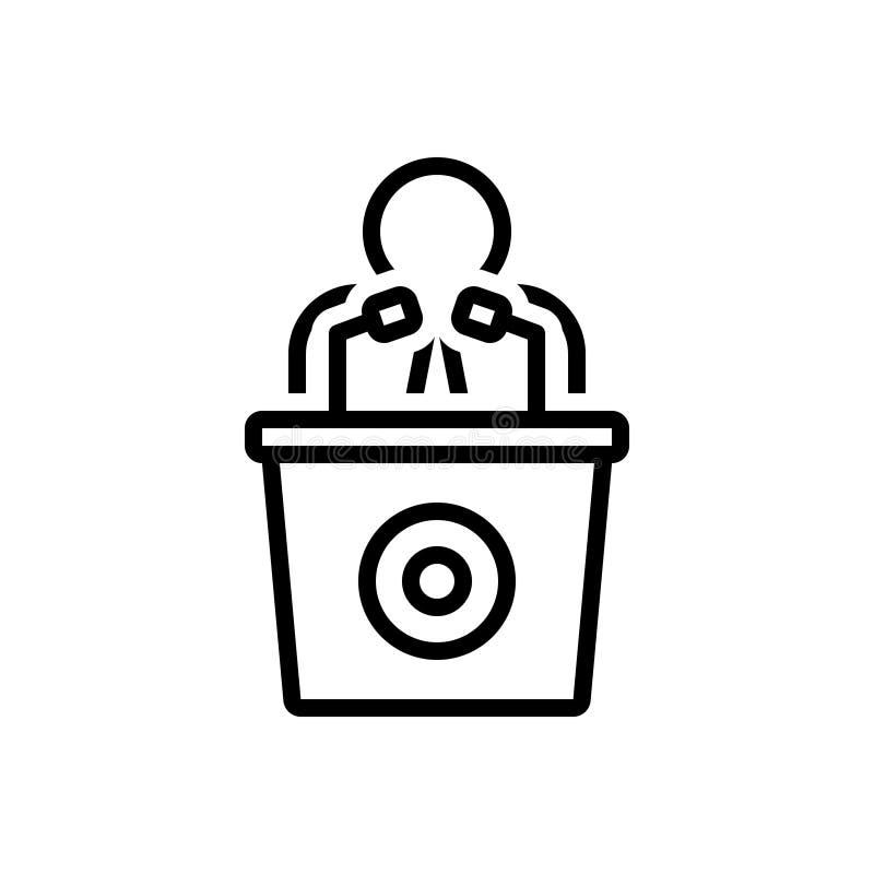 Linha preta ícone para o homem que fala por um orador, por uma conferência e por um orador ilustração royalty free
