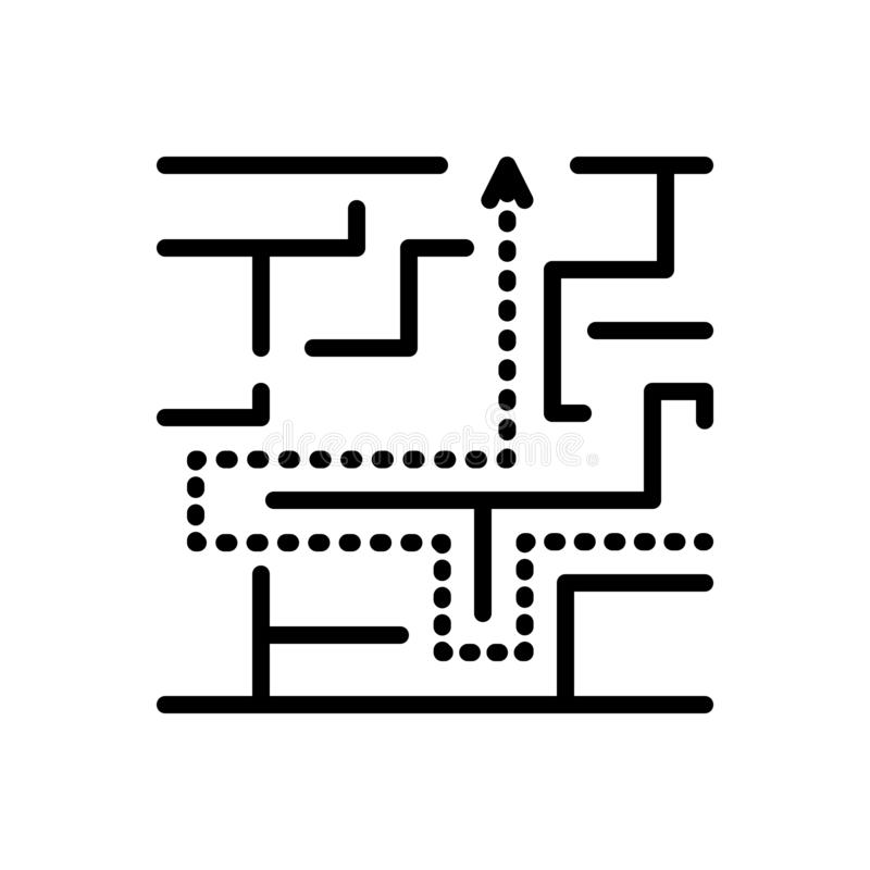 Linha preta ícone para o labirinto, a complicação e o imbróglio ilustração stock