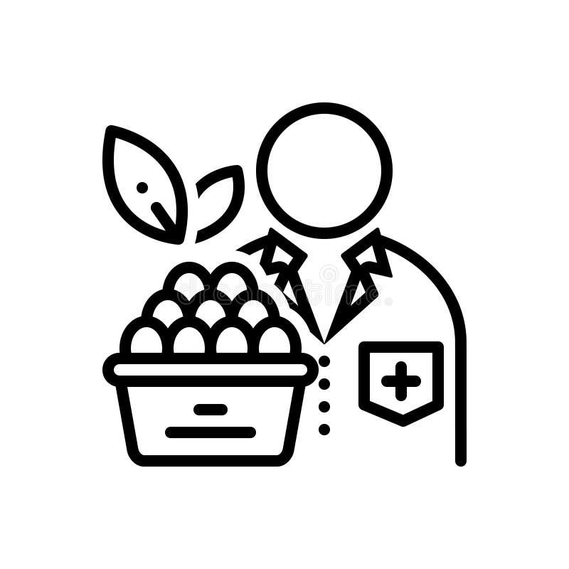 Linha preta ícone para o nutricionista, o doutor e a dieta ilustração stock