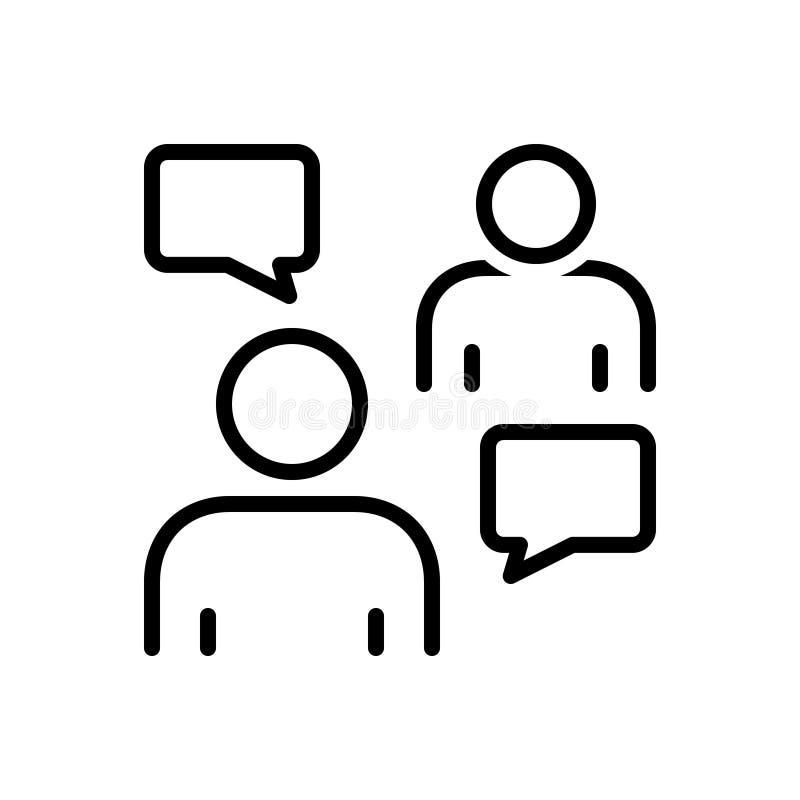 Linha preta ícone para o persuasor, a negociação e a discussão ilustração royalty free