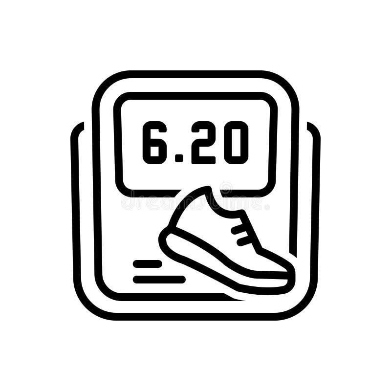 Linha preta ícone para o podômetro, o perseguidor e o alarme ilustração stock