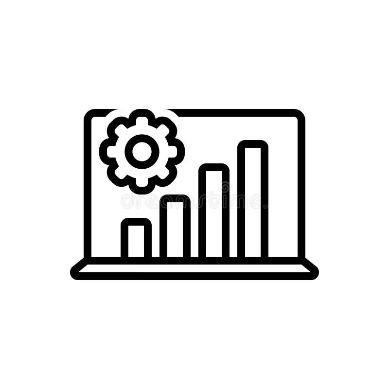 Linha preta ícone para o processo, o portátil e os gráficos da análise ilustração royalty free