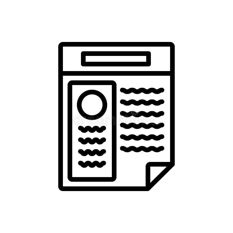 Linha preta ícone para o resumo, a aplicação e o sumário ilustração stock