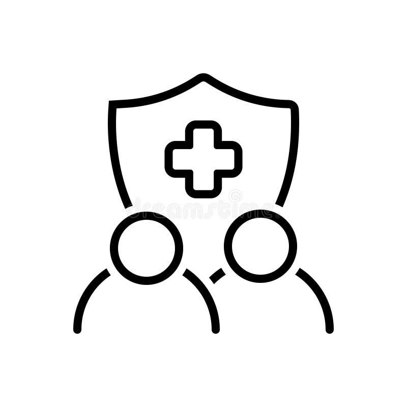 Linha preta ícone para o seguro, a garantia e a garantia ilustração do vetor