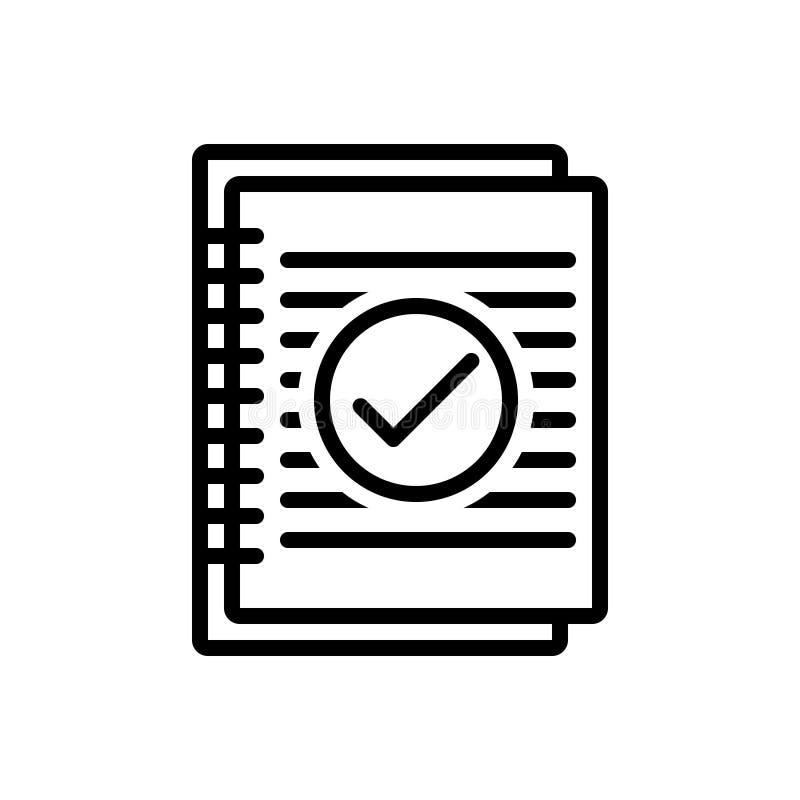 Linha preta ícone para o sumário, o resumo e a aplicação ilustração stock