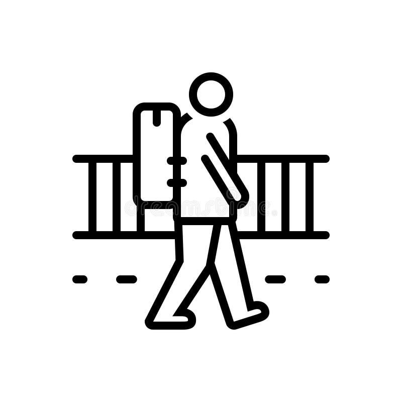 Linha preta ícone para o vagabundo, dando uma volta e rangy ilustração do vetor