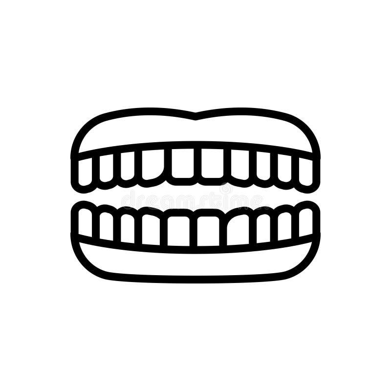Linha preta ícone para os dentes, o dente e a mastigação ilustração stock