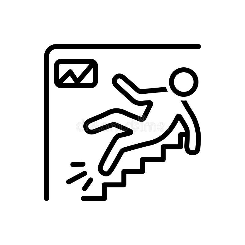 Linha preta ícone para os ferimentos, o local de trabalho e o acidente ilustração royalty free