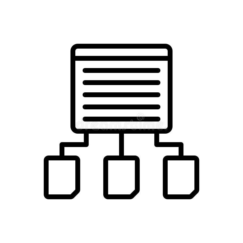 Linha preta ícone para a partilha, a parte e os dados do índice ilustração stock