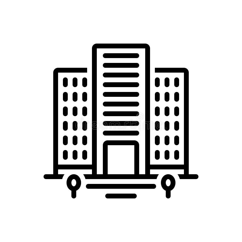 Linha preta ícone para planos, casa e residência ilustração do vetor