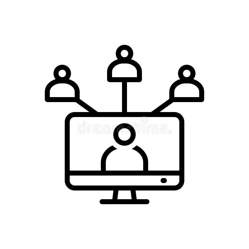 Linha preta ícone para a rede, uma comunicação e a comunidade sociais ilustração stock