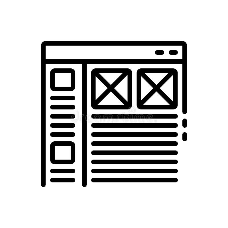 Linha preta ícone para a relação, o usuário e o Web site ilustração royalty free