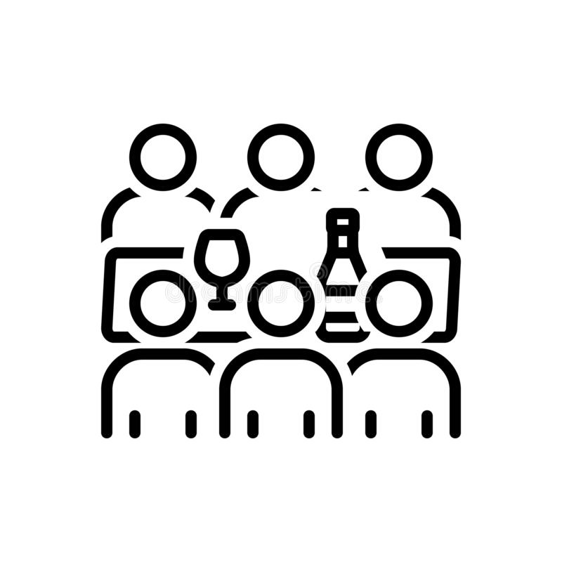 Linha preta ícone para a reunião, os amigos e a comemoração ilustração royalty free