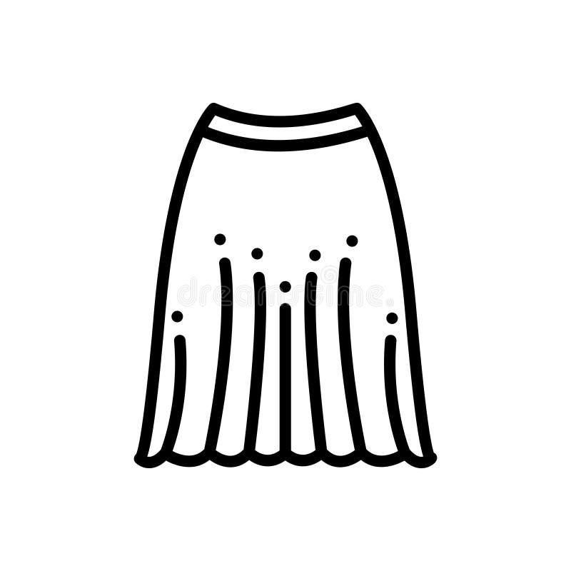 Linha preta ícone para a saia, a roupa e o vestido ilustração do vetor