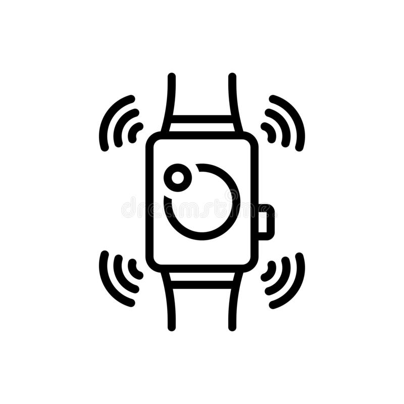 Linha preta ícone para Smartwatch, wearable e tecnologia ilustração stock