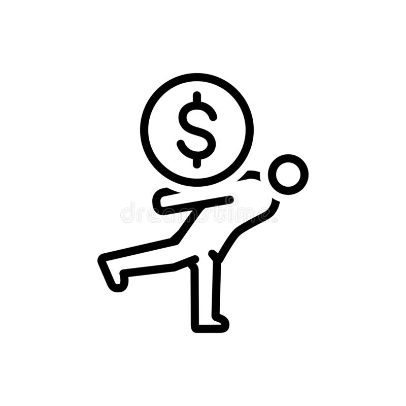 Linha preta ícone para a sobrecarga, o preço e o falido ilustração stock