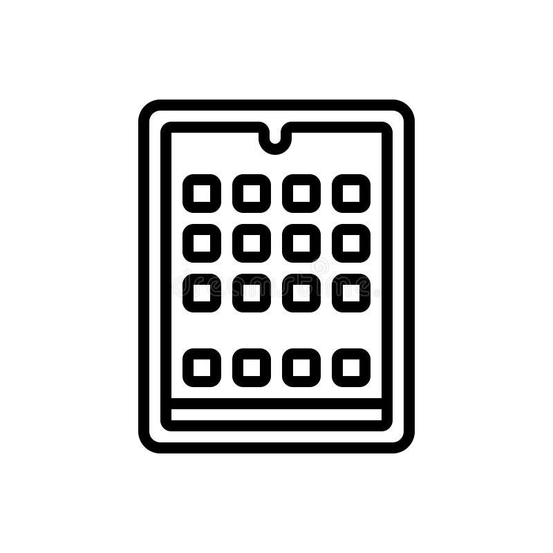 Linha preta ícone para a tabuleta, o androide e o dispositivo ilustração do vetor