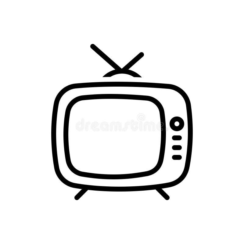 Linha preta ícone para a televisão do vintage, clássico e velho ilustração stock