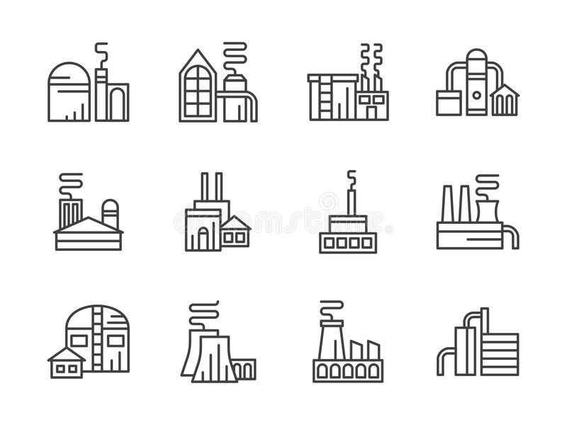 Linha preta ícones das facilidades industriais ajustados ilustração stock