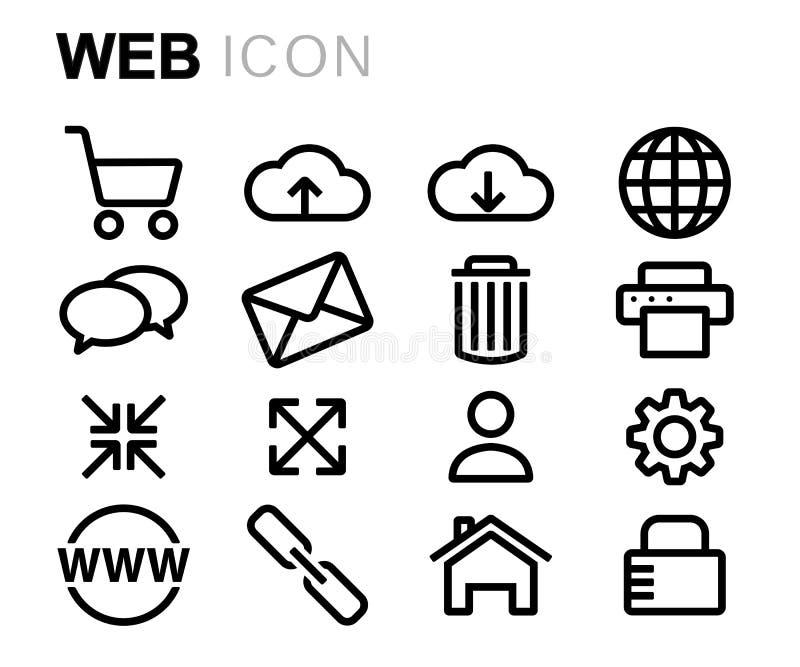 Linha preta ícones do vetor da Web ajustados ilustração stock