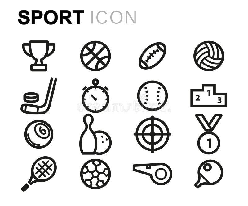 Linha preta ícones do vetor do esporte ajustados ilustração stock