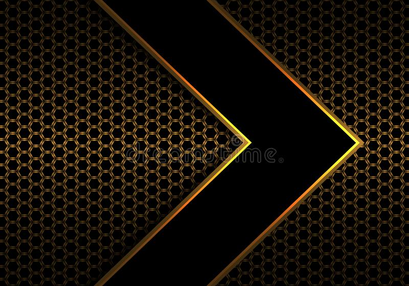 Linha preta abstrata sentido do ouro da seta no vetor futurista moderno do fundo do projeto do teste padrão da malha do hexágono  ilustração royalty free