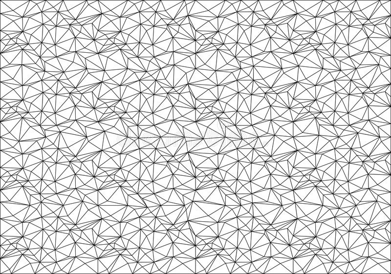 Linha preta abstrata teste padrão do polígono da malha no vetor branco da textura do fundo ilustração stock
