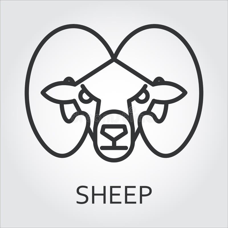 Linha preta arte do estilo do ícone, carneiro principal do animal selvagem, ram ilustração stock