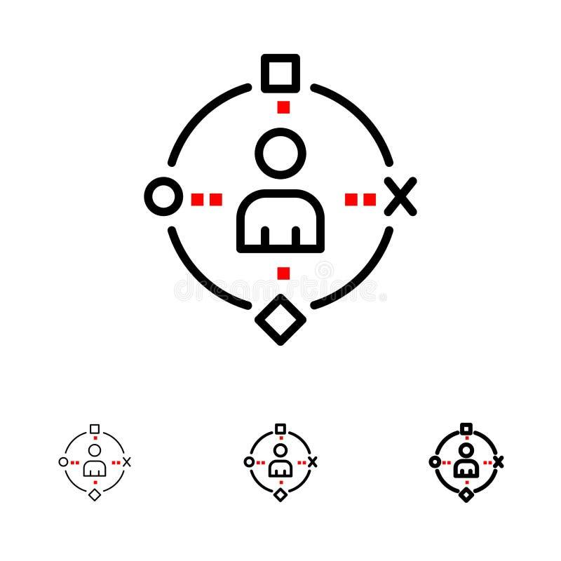Linha preta corajosa e fina grupo ambiental, do usuário, da tecnologia, da experiência do ícone ilustração do vetor