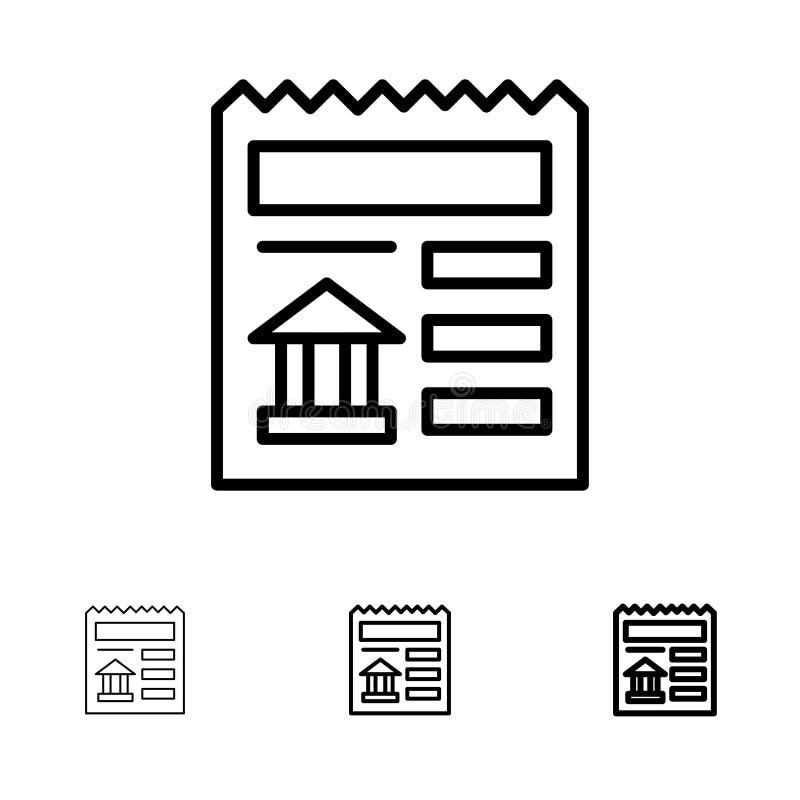 Linha preta corajosa e fina grupo básica, do documento, do Ui, do banco do ícone ilustração stock