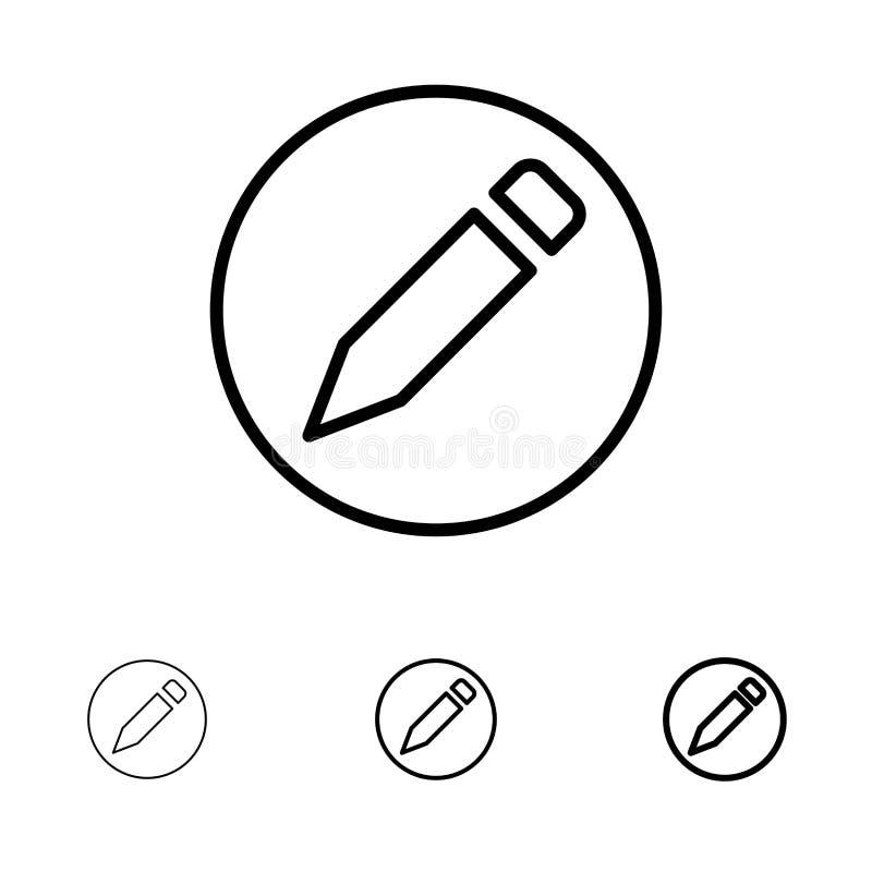 Linha preta corajosa e fina grupo básica, do lápis, do texto do ícone ilustração royalty free