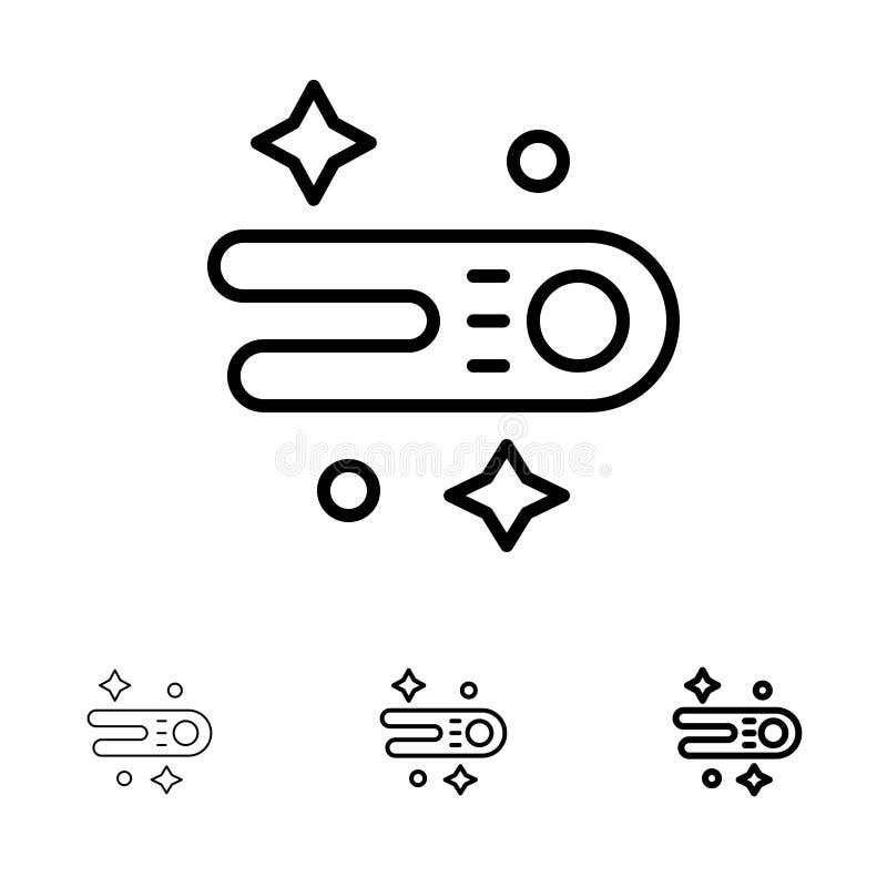 Linha preta corajosa e fina grupo da astronomia, do cometa, do espaço do ícone ilustração do vetor