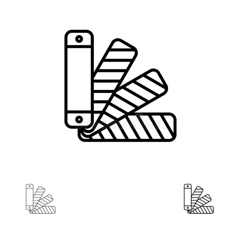 Linha preta corajosa e fina grupo da cor, da pálete, do Pantone, da amostra de folha do ícone ilustração do vetor