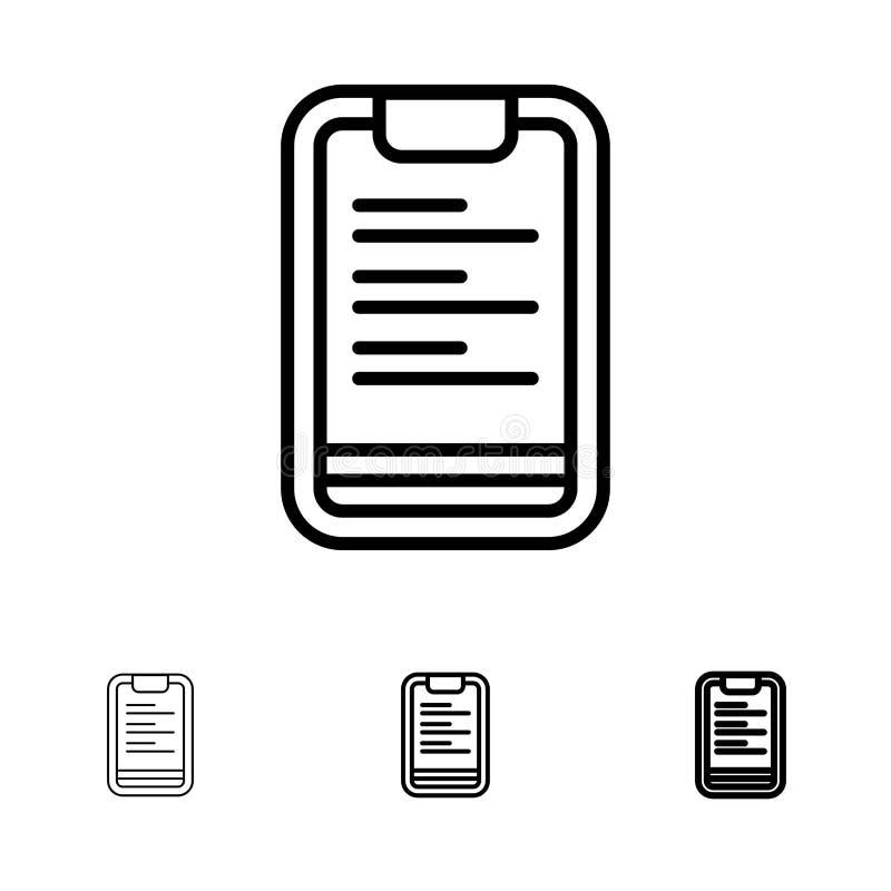 Linha preta corajosa e fina grupo da prancheta, do texto, da placa, da motivação do ícone ilustração stock