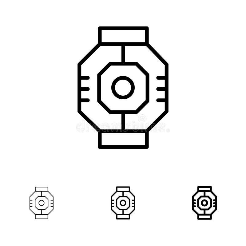 Linha preta corajosa e fina grupo da represa, da cápsula, do componente, do módulo, da vagem do ícone ilustração do vetor