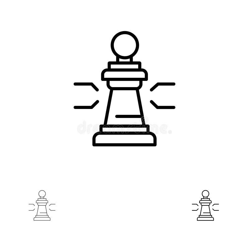 Linha preta corajosa e fina grupo da xadrez, da vantagem, do negócio, das figuras, do jogo, da estratégia, da tática do ícone ilustração royalty free