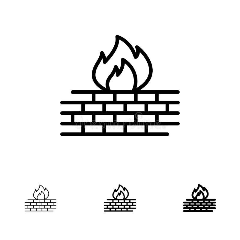 Linha preta corajosa e fina grupo do Antivirus, do computador, do guarda-fogo, da rede, da segurança do ícone ilustração royalty free